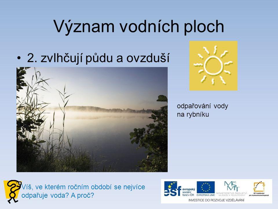 Význam vodních ploch 2. zvlhčují půdu a ovzduší