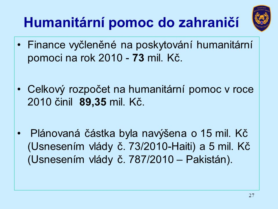 Humanitární pomoc do zahraničí