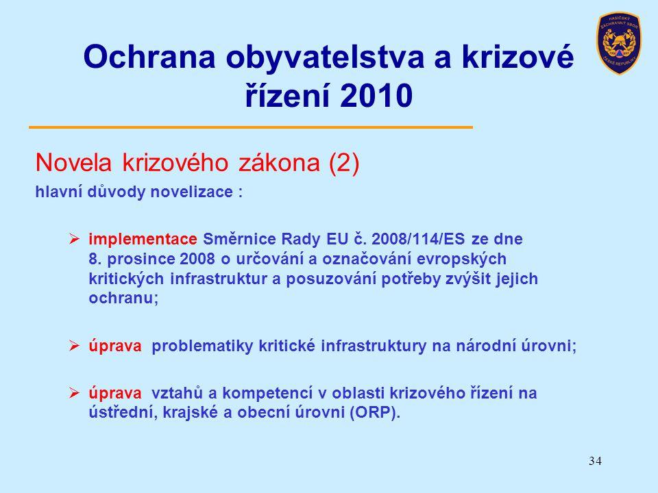 Ochrana obyvatelstva a krizové řízení 2010