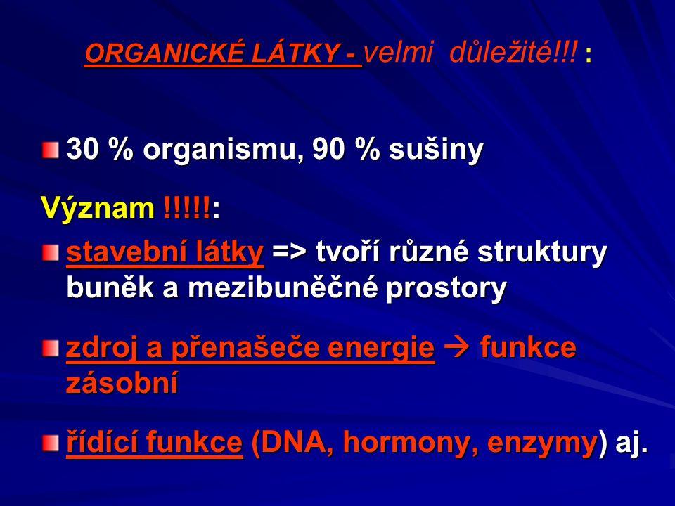 ORGANICKÉ LÁTKY - velmi důležité!!! :
