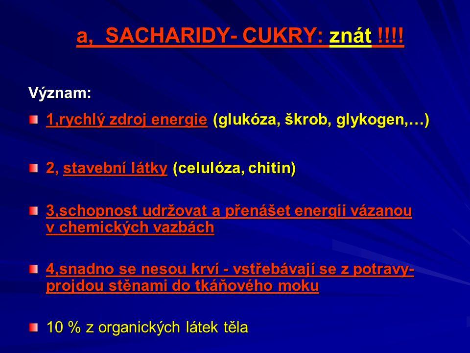 a, SACHARIDY- CUKRY: znát !!!!