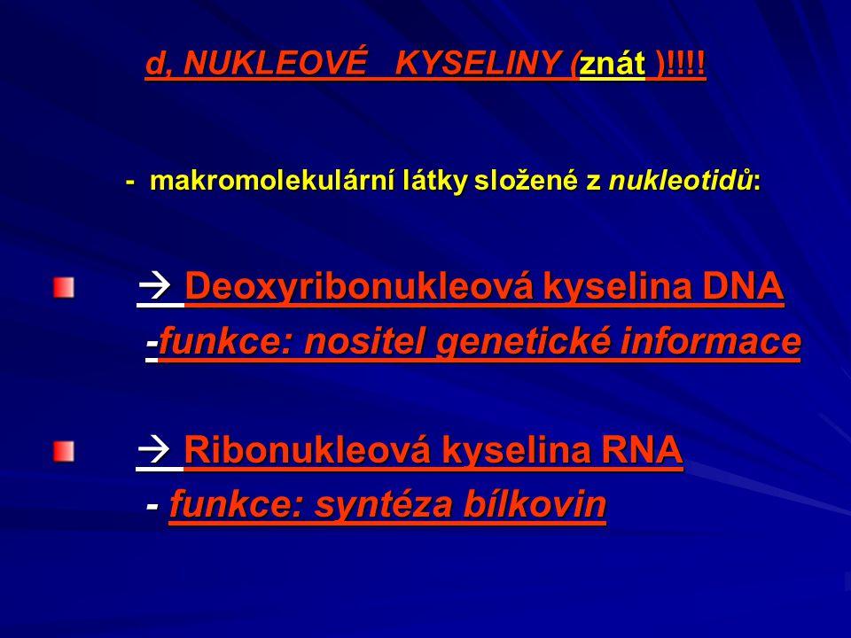 d, NUKLEOVÉ KYSELINY (znát )!!!!