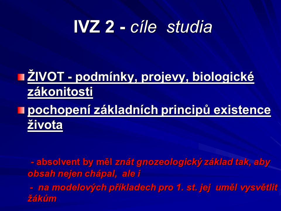 IVZ 2 - cíle studia ŽIVOT - podmínky, projevy, biologické zákonitosti