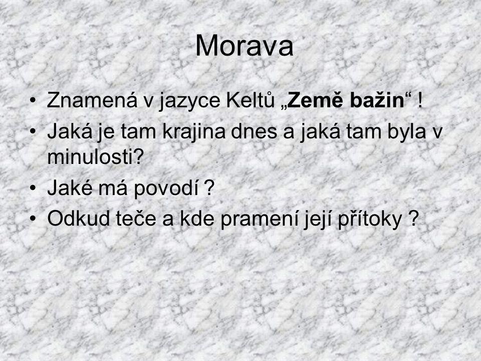 """Morava Znamená v jazyce Keltů """"Země bažin !"""