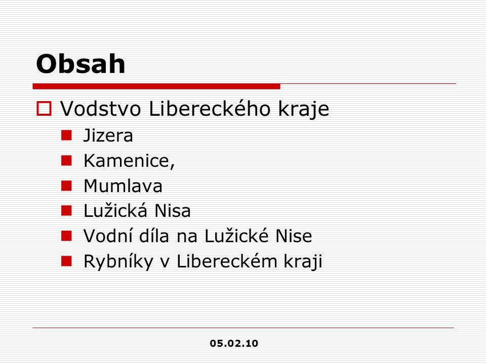 Obsah Vodstvo Libereckého kraje Jizera Kamenice, Mumlava Lužická Nisa