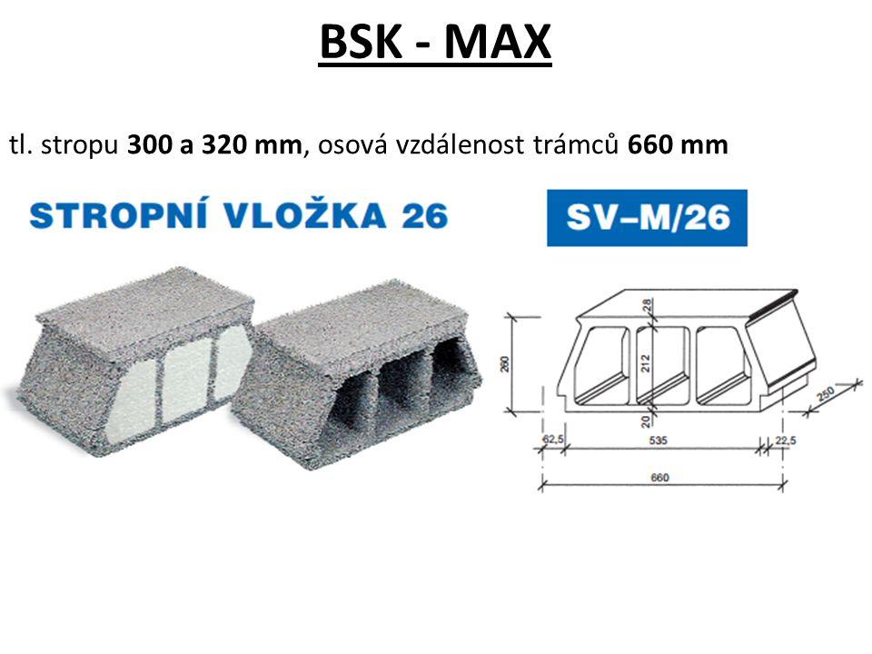tl. stropu 300 a 320 mm, osová vzdálenost trámců 660 mm