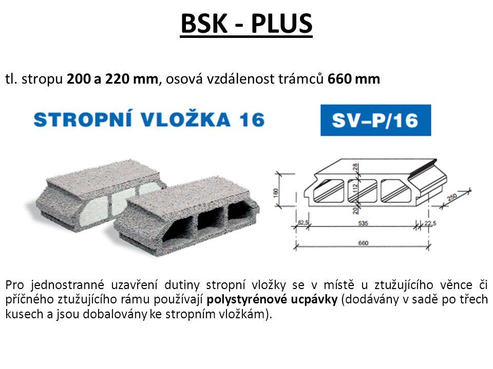 BSK - PLUS tl. stropu 200 a 220 mm, osová vzdálenost trámců 660 mm