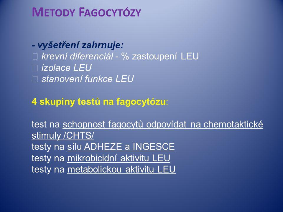 Metody Fagocytózy - vyšetření zahrnuje:  krevní diferenciál - % zastoupení LEU  izolace LEU  stanovení funkce LEU 4 skupiny testů na fagocytózu: test na schopnost fagocytů odpovídat na chemotaktické stimuly /CHTS/ testy na sílu ADHEZE a INGESCE testy na mikrobicidní aktivitu LEU testy na metabolickou aktivitu LEU