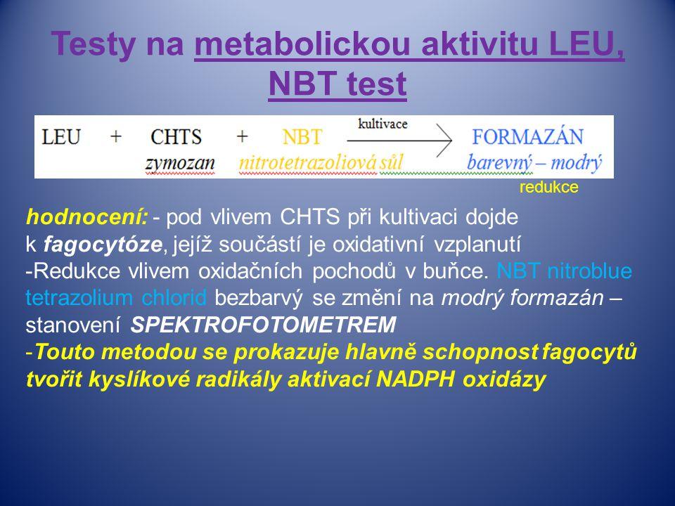 Testy na metabolickou aktivitu LEU, NBT test