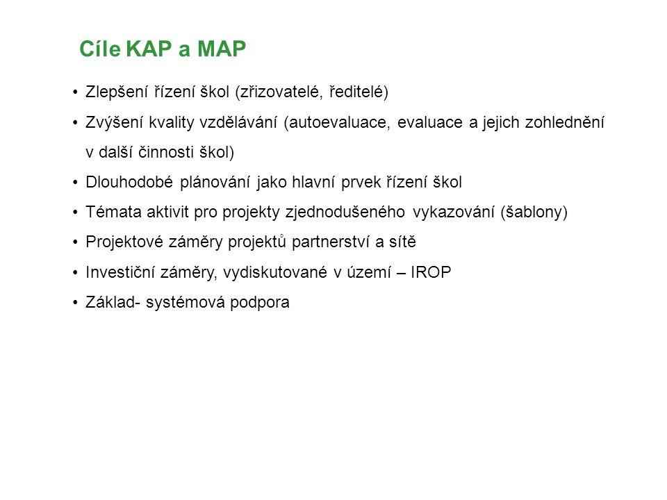 Cíle KAP a MAP Zlepšení řízení škol (zřizovatelé, ředitelé)