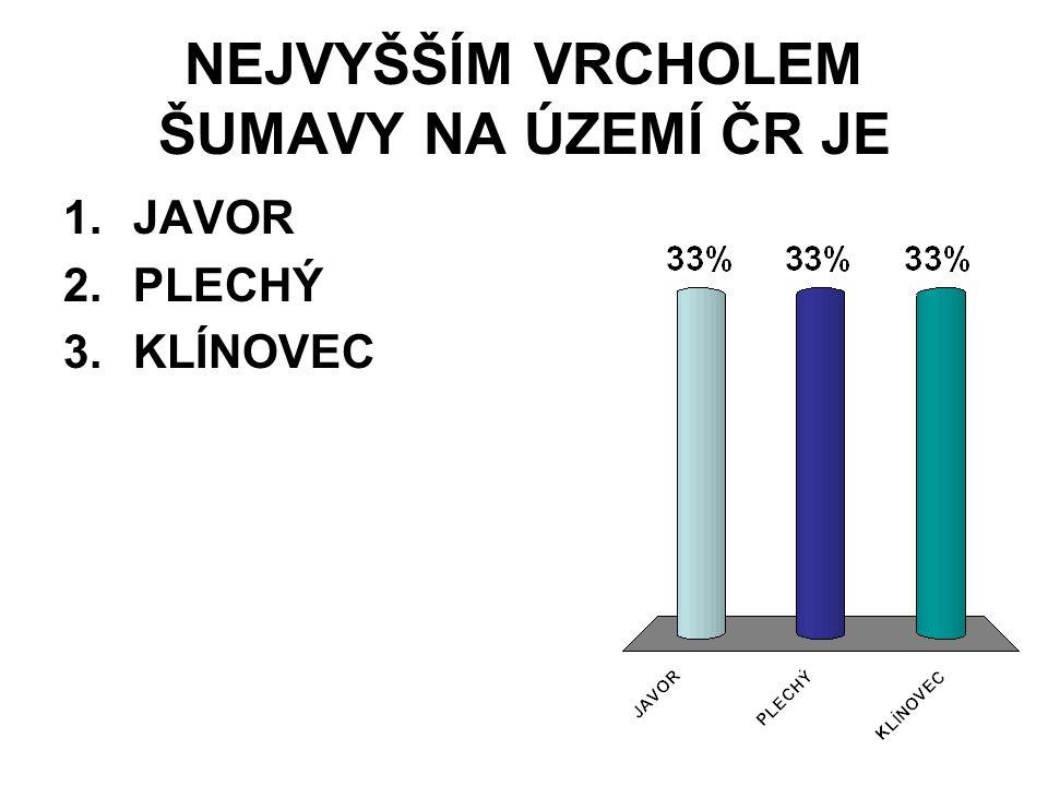NEJVYŠŠÍM VRCHOLEM ŠUMAVY NA ÚZEMÍ ČR JE