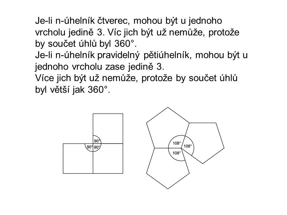 Je-li n-úhelník čtverec, mohou být u jednoho vrcholu jedině 3