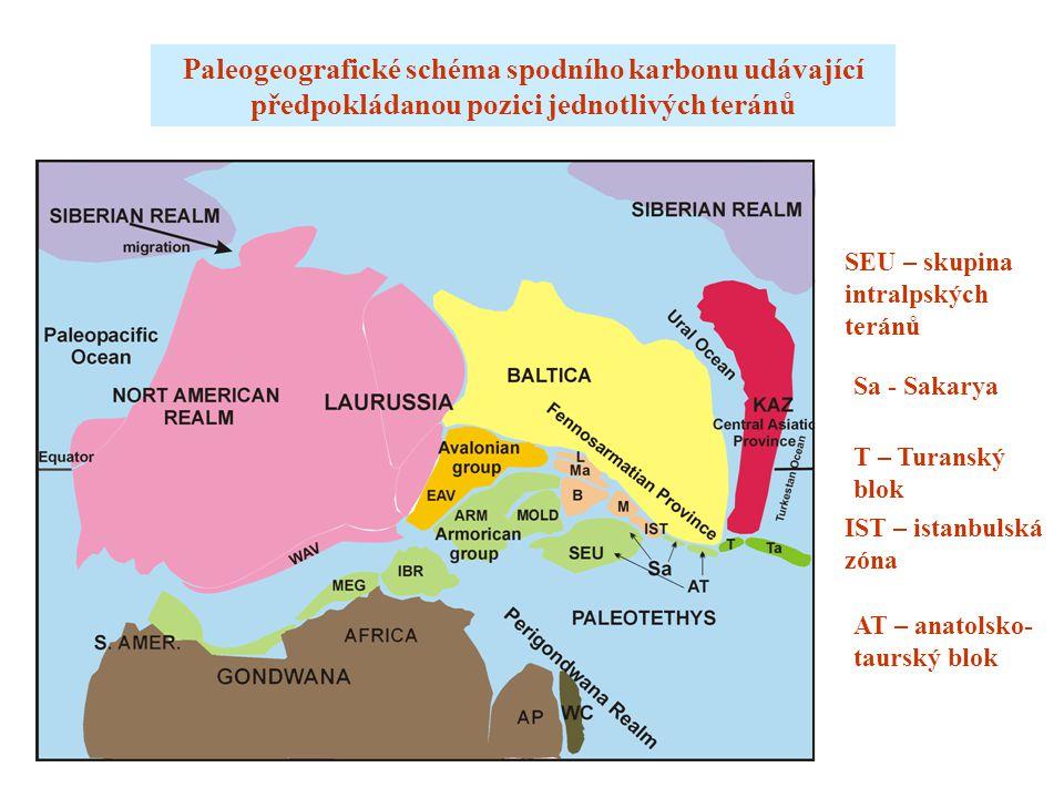 Paleogeografické schéma spodního karbonu udávající předpokládanou pozici jednotlivých teránů