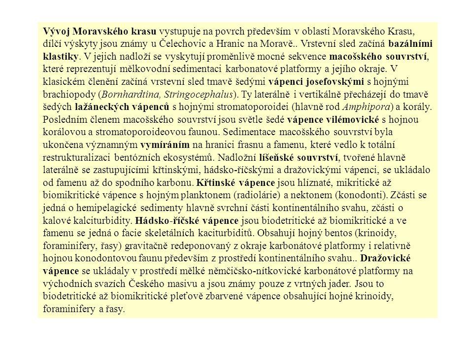Vývoj Moravského krasu vystupuje na povrch především v oblasti Moravského Krasu, dílčí výskyty jsou známy u Čelechovic a Hranic na Moravě..