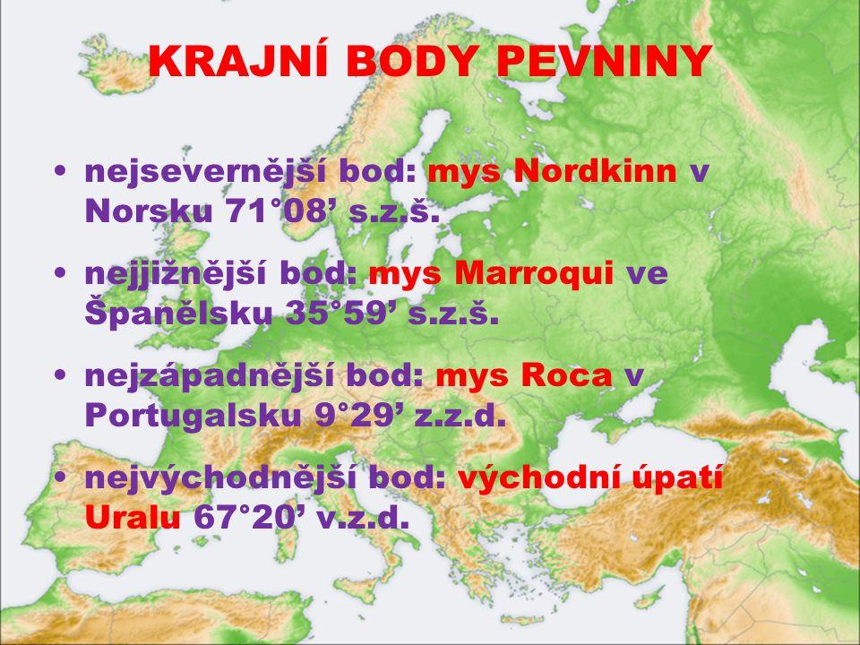 KRAJNÍ BODY PEVNINY nejsevernější bod: mys Nordkinn v Norsku 71°08' s.z.š. nejjižnější bod: mys Marroqui ve Španělsku 35°59' s.z.š.