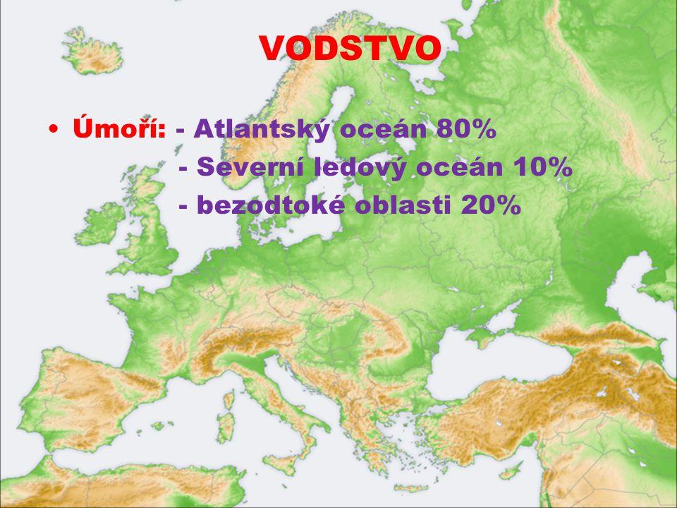 VODSTVO Úmoří: - Atlantský oceán 80% - Severní ledový oceán 10%