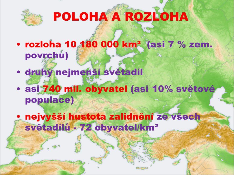 POLOHA A ROZLOHA rozloha 10 180 000 km² (asi 7 % zem. povrchu) druhý nejmenší světadíl. asi 740 mil. obyvatel (asi 10% světové populace)