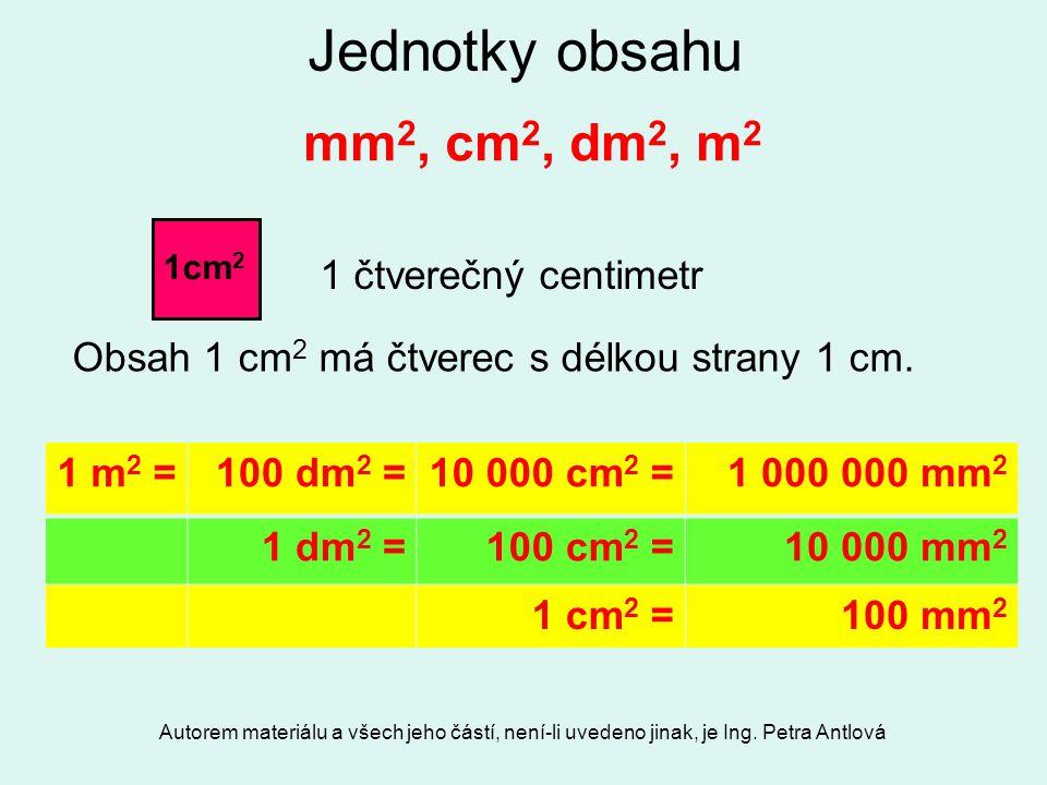 Jednotky obsahu mm2, cm2, dm2, m2 1 čtverečný centimetr