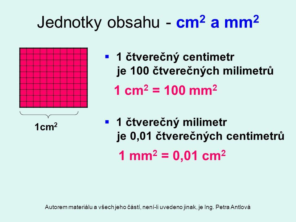 Jednotky obsahu - cm2 a mm2