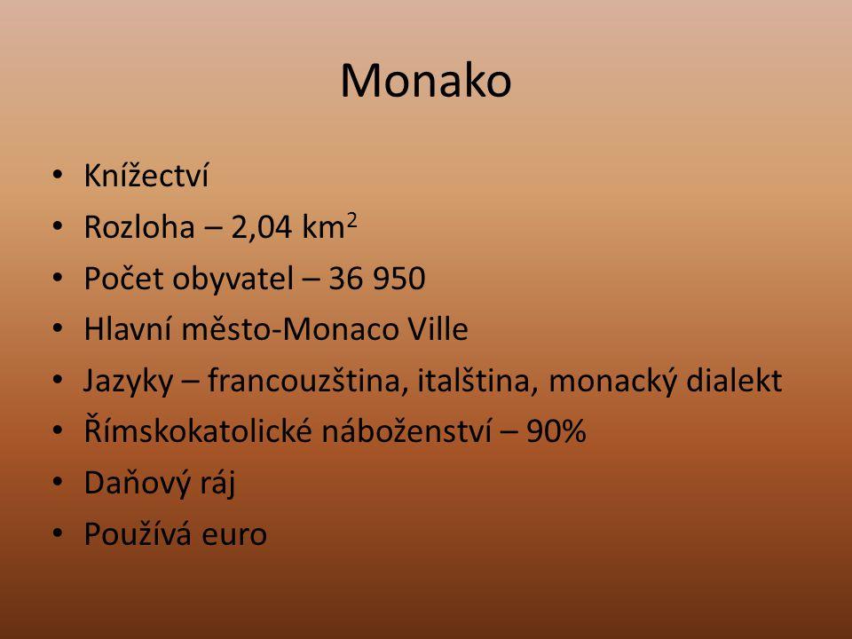 Monako Knížectví Rozloha – 2,04 km2 Počet obyvatel – 36 950