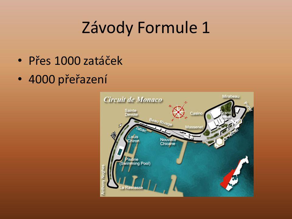 Závody Formule 1 Přes 1000 zatáček 4000 přeřazení