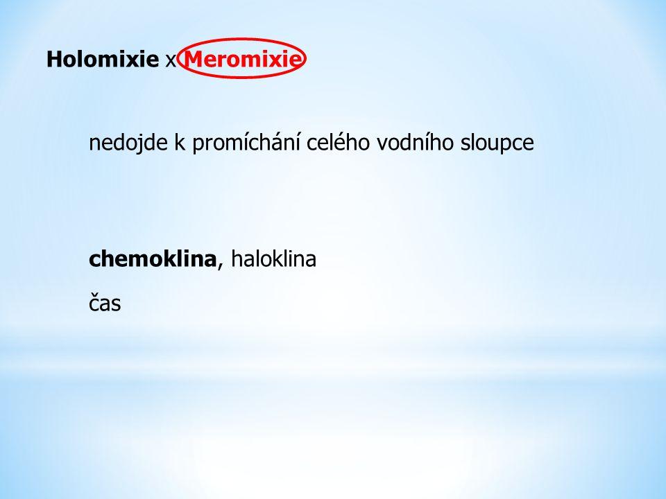 Holomixie x Meromixie nedojde k promíchání celého vodního sloupce chemoklina, haloklina čas