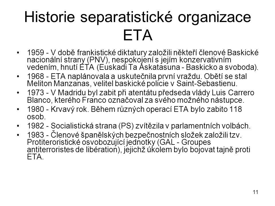 Historie separatistické organizace ETA