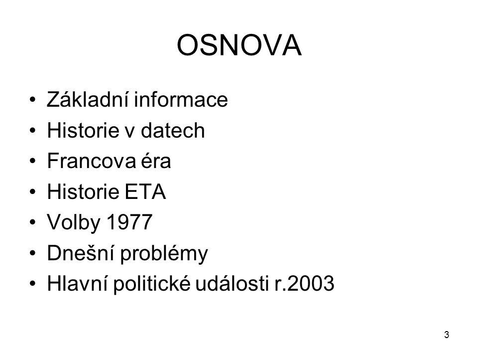 OSNOVA Základní informace Historie v datech Francova éra Historie ETA