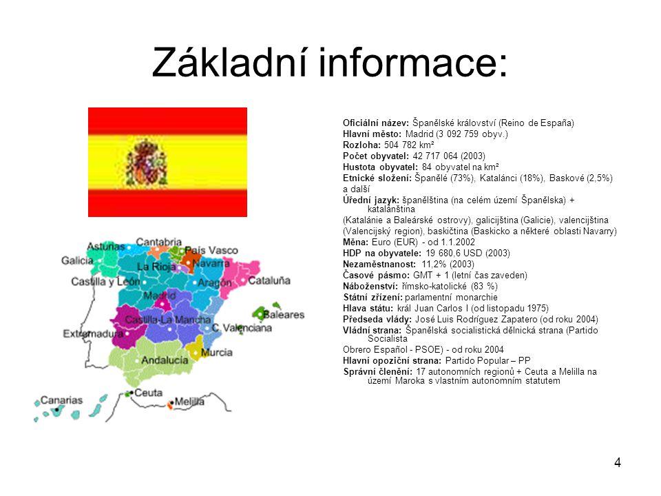 Základní informace: Oficiální název: Španělské království (Reino de España) Hlavní město: Madrid (3 092 759 obyv.)