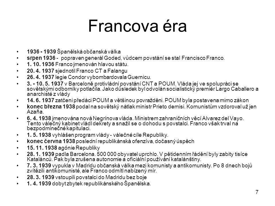 Francova éra 1936 - 1939 Španělská občanská válka