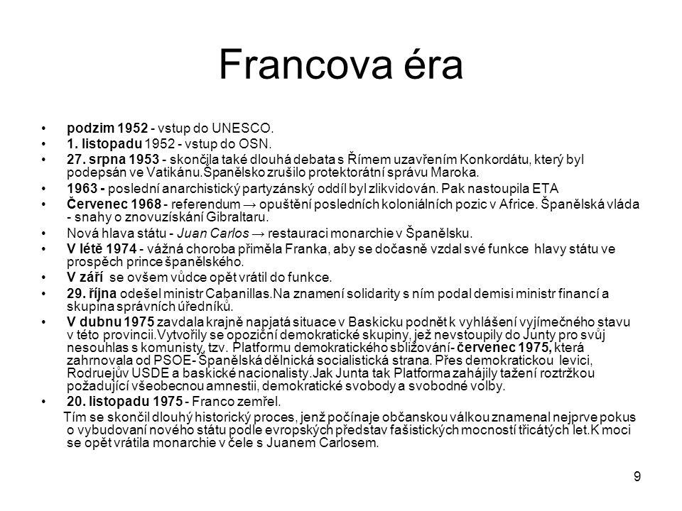 Francova éra podzim 1952 - vstup do UNESCO.