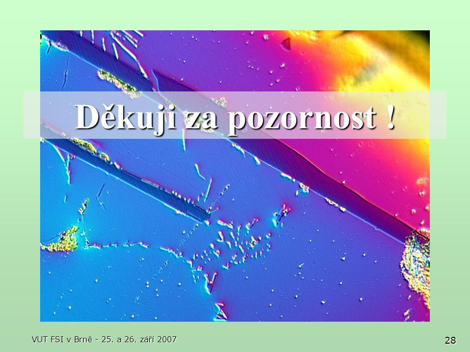 Děkuji za pozornost ! VUT FSI v Brně - 25. a 26. září 2007
