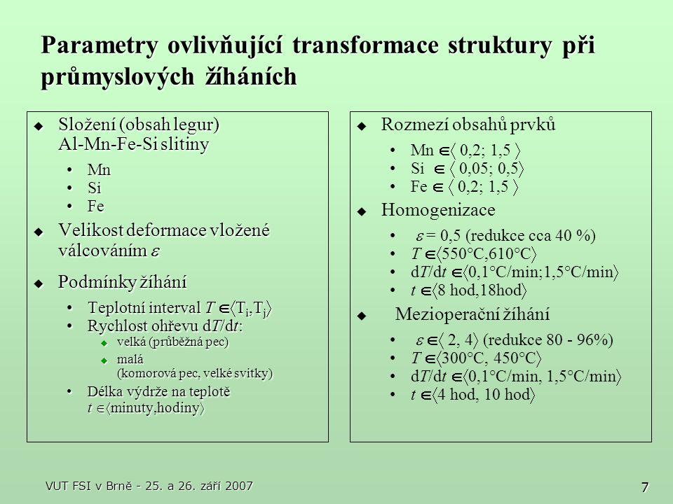 Parametry ovlivňující transformace struktury při průmyslových žíháních