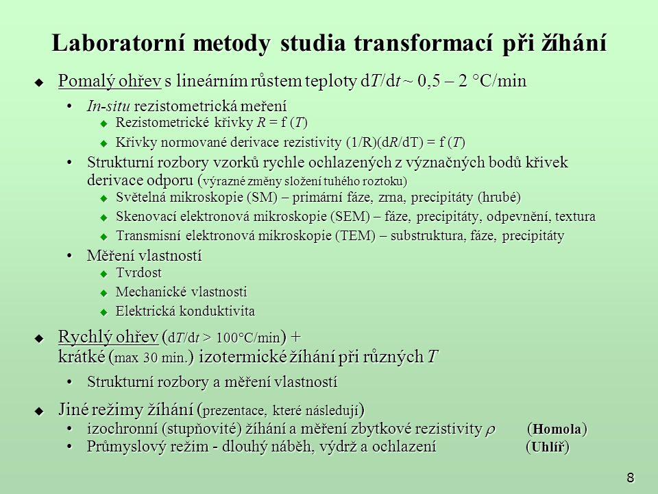 Laboratorní metody studia transformací při žíhání