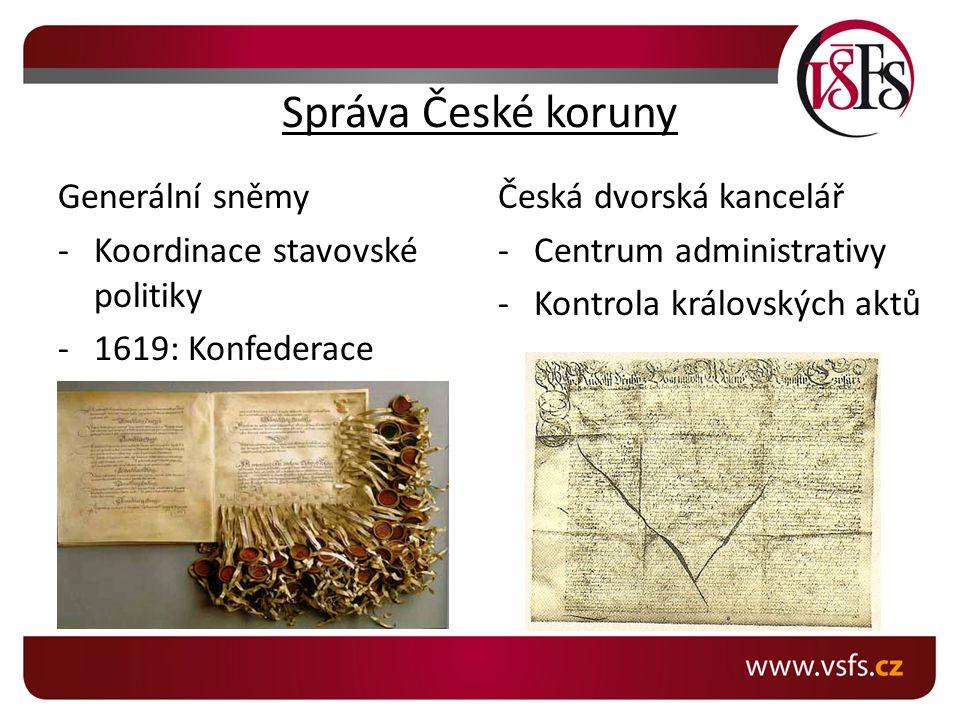Správa České koruny Generální sněmy Koordinace stavovské politiky