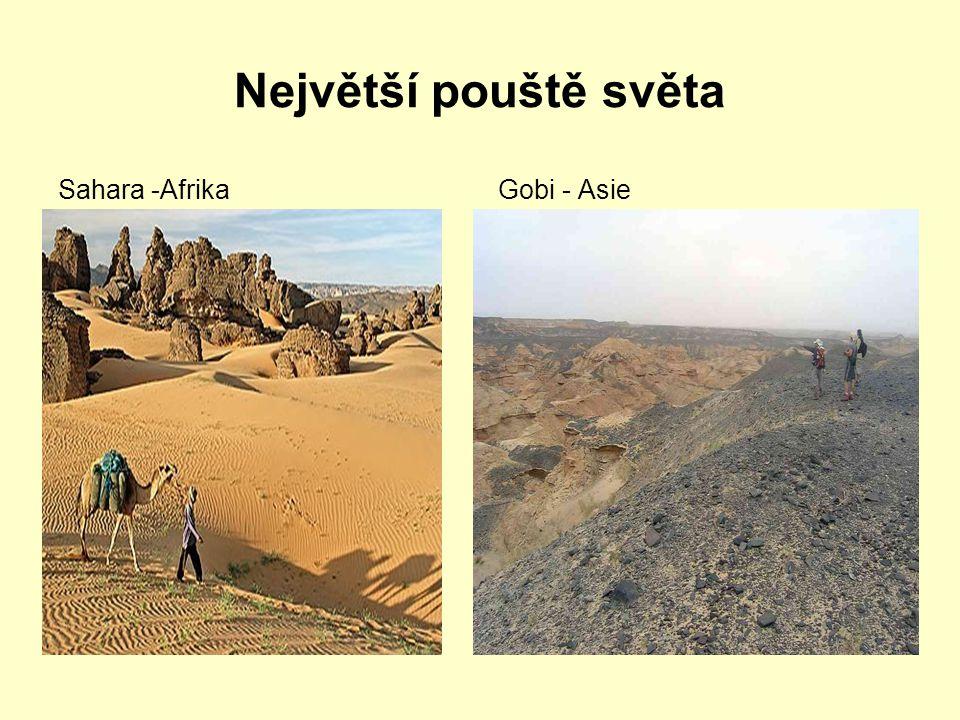 Největší pouště světa Sahara -Afrika Gobi - Asie