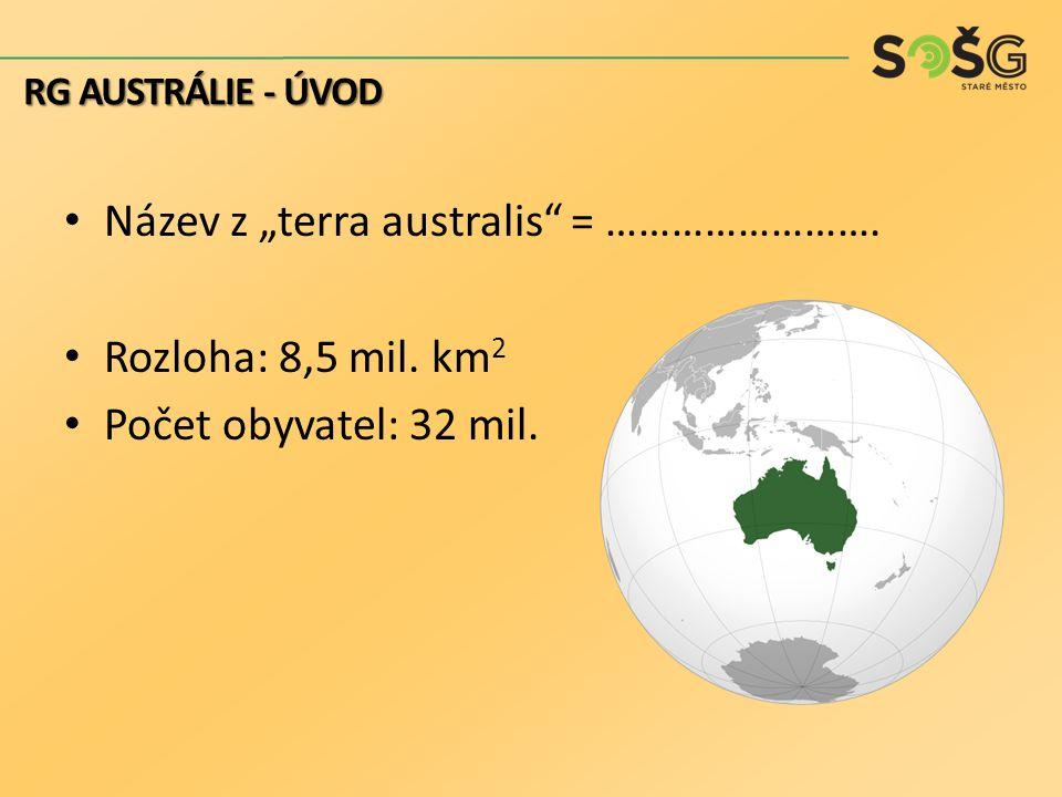 "Název z ""terra australis = ……………………. Rozloha: 8,5 mil. km2"