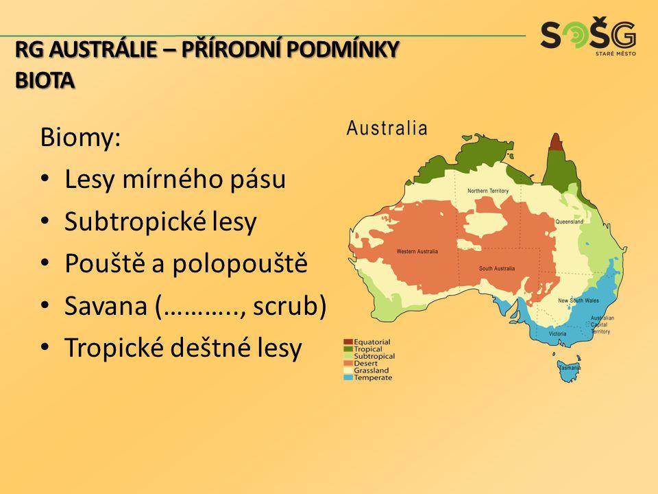 Biomy: Lesy mírného pásu Subtropické lesy Pouště a polopouště