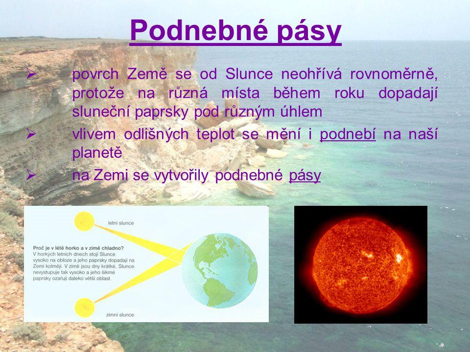 Podnebné pásy povrch Země se od Slunce neohřívá rovnoměrně, protože na různá místa během roku dopadají sluneční paprsky pod různým úhlem.