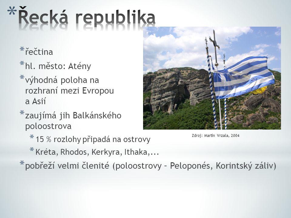 Řecká republika řečtina hl. město: Atény