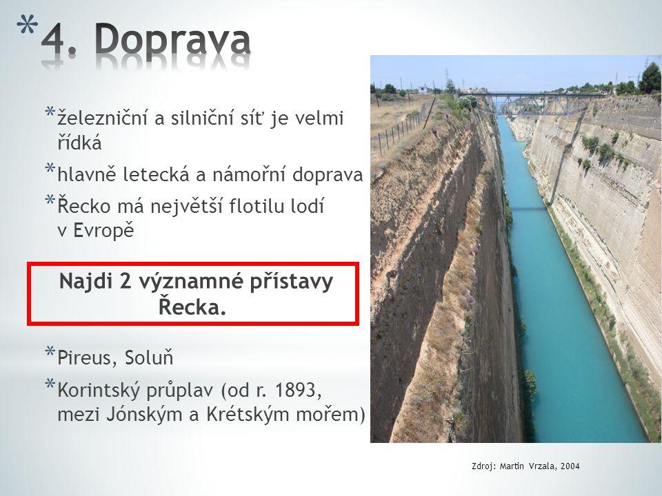 Najdi 2 významné přístavy Řecka.