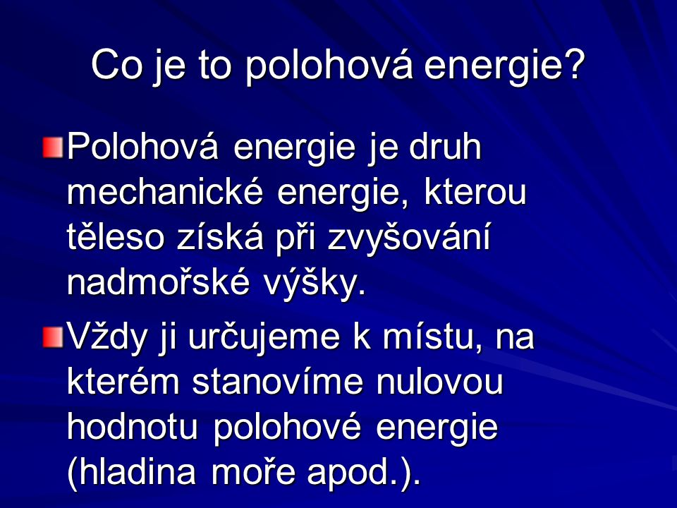 Co je to polohová energie