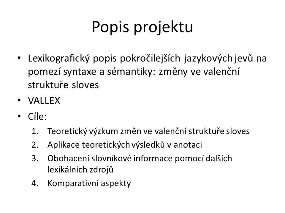 Popis projektu Lexikografický popis pokročilejších jazykových jevů na pomezí syntaxe a sémantiky: změny ve valenční struktuře sloves.