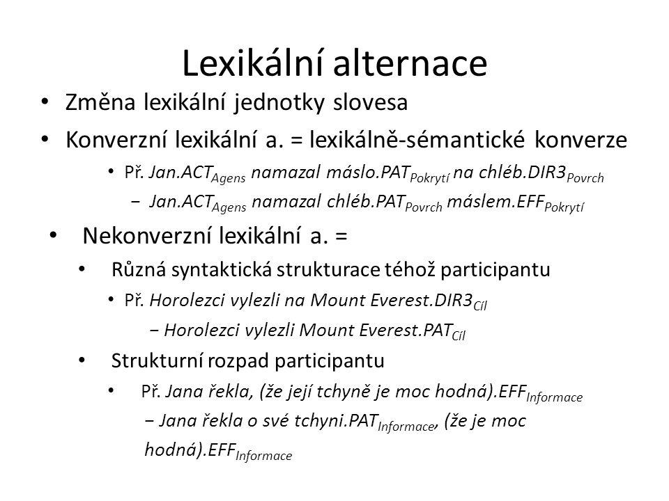 Lexikální alternace Změna lexikální jednotky slovesa