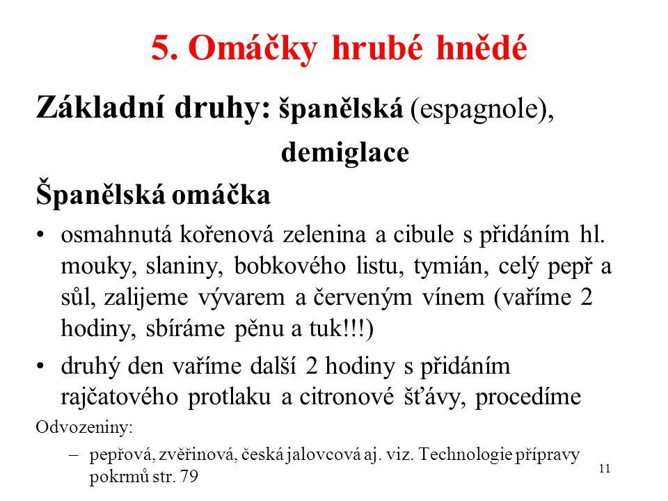 5. Omáčky hrubé hnědé Základní druhy: španělská (espagnole), demiglace