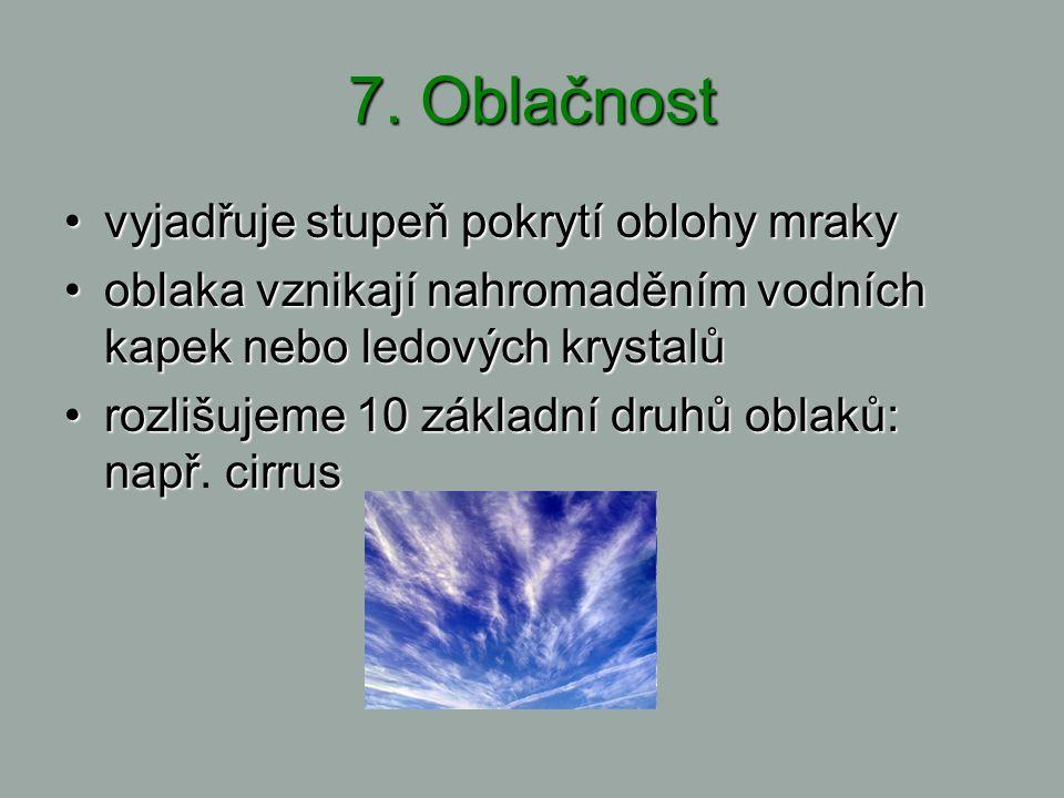 7. Oblačnost vyjadřuje stupeň pokrytí oblohy mraky