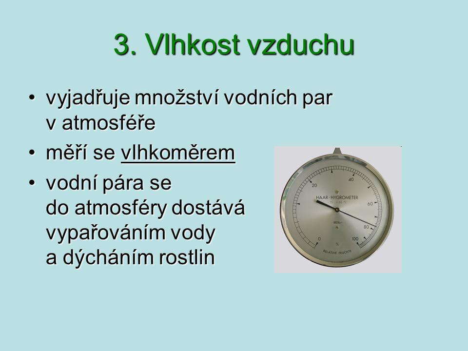 3. Vlhkost vzduchu vyjadřuje množství vodních par v atmosféře