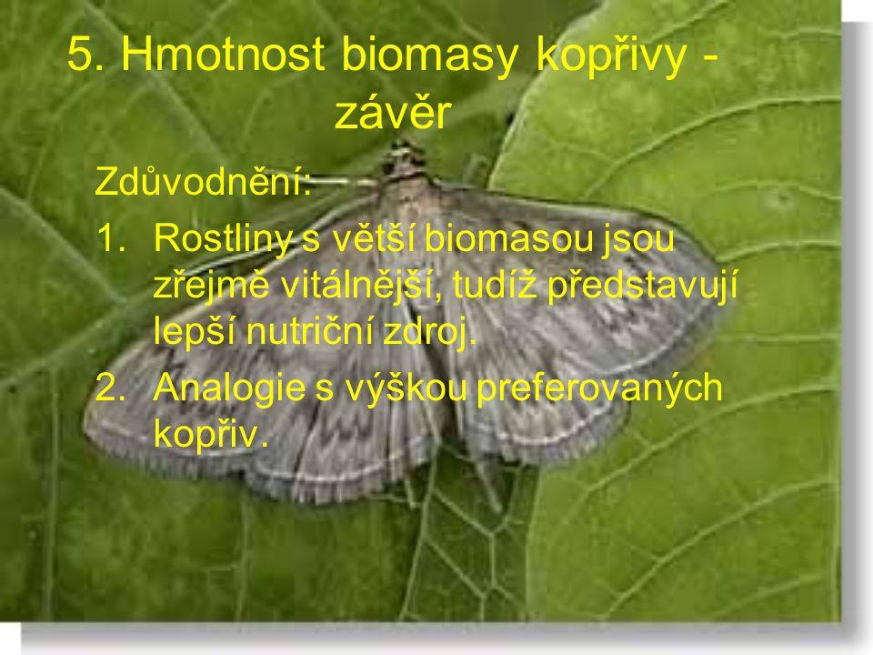 5. Hmotnost biomasy kopřivy - závěr