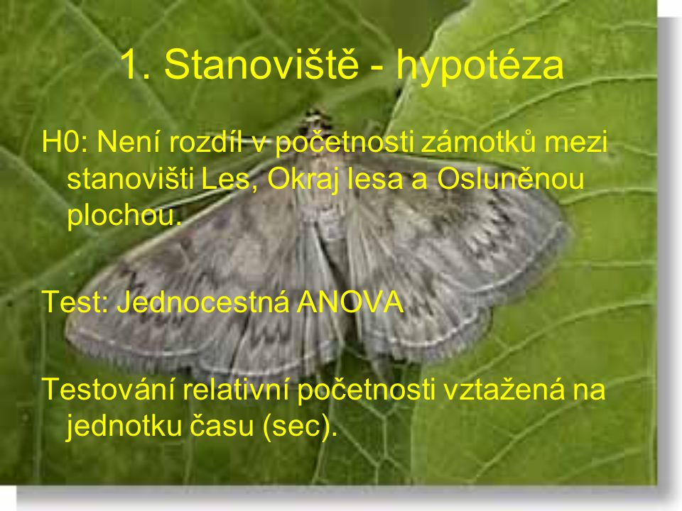1. Stanoviště - hypotéza H0: Není rozdíl v početnosti zámotků mezi stanovišti Les, Okraj lesa a Osluněnou plochou.