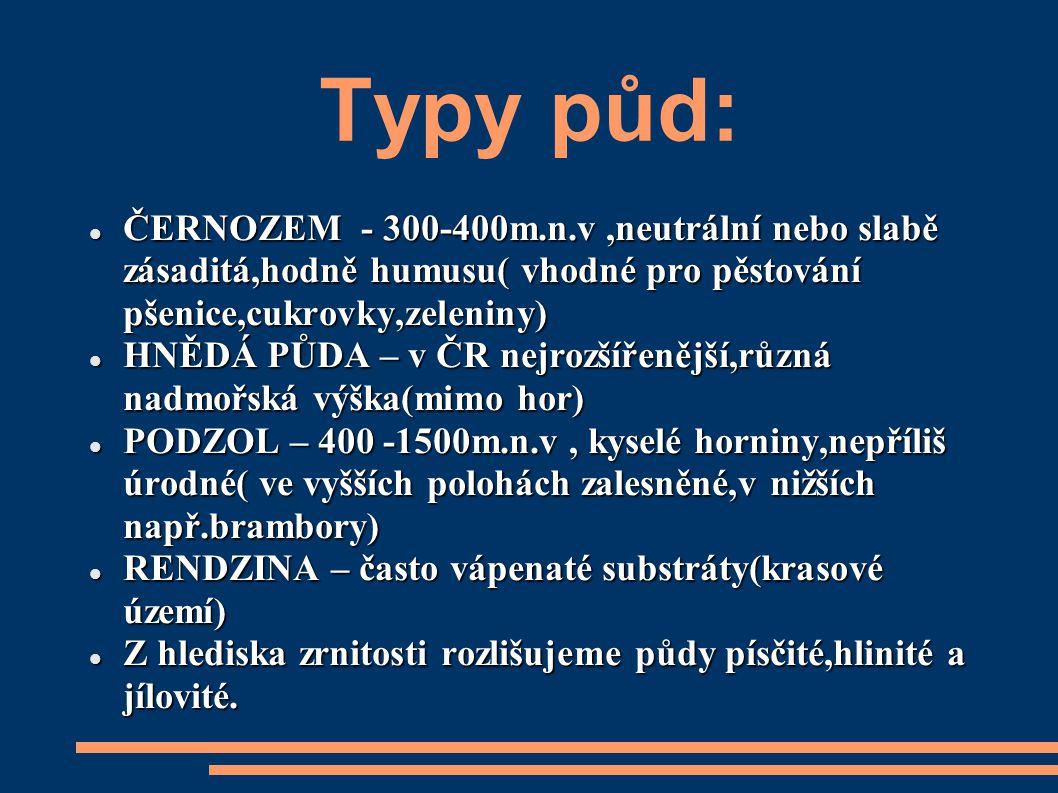 Typy půd: ČERNOZEM - 300-400m.n.v ,neutrální nebo slabě zásaditá,hodně humusu( vhodné pro pěstování pšenice,cukrovky,zeleniny)
